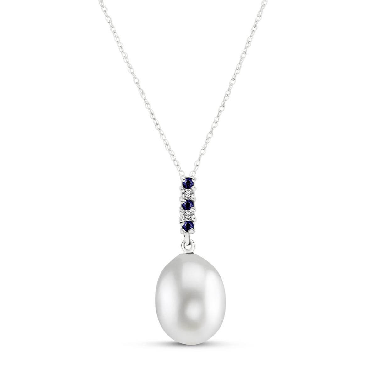 Pearl & Sapphire Pendant Necklace in 9ct White Gold
