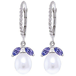 Pearl & Tanzanite Snowdrop Twist Earrings in 9ct White Gold