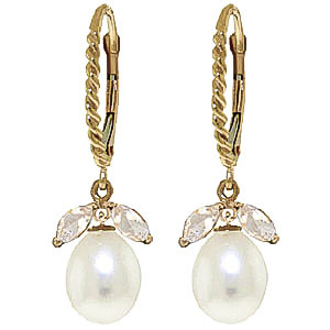 Pearl & White Topaz Snowdrop Twist Earrings in 9ct Gold
