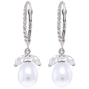 Pearl & White Topaz Snowdrop Twist Earrings in 9ct White Gold