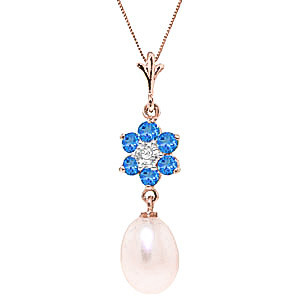 Pearl, Blue Topaz & Diamond Daisy Pendant Necklace in 9ct Rose Gold