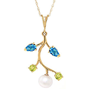 Pearl, Blue Topaz & Peridot Vine Pendant Necklace in 9ct Gold