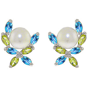 Pearl, Peridot & Blue Topaz Ivy Stud Earrings in 9ct White Gold
