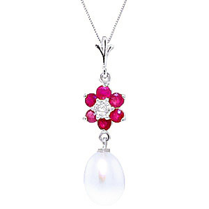 Pearl, Ruby & Diamond Daisy Pendant Necklace in 9ct White Gold