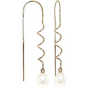 Pearl Threader Earrings 8 ctw in 9ct Gold