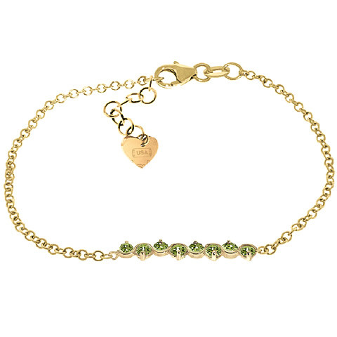 Peridot Adjustable Bracelet 1.55 ctw in 9ct Gold