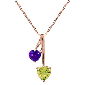Peridot & Amethyst Twin Pendant Necklace in 9ct Rose Gold