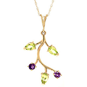 Peridot & Amethyst Vine Pendant Necklace in 9ct Gold