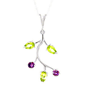Peridot & Amethyst Vine Pendant Necklace in 9ct White Gold