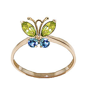 Peridot & Blue Topaz Butterfly Ring in 9ct Gold