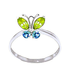 Peridot & Blue Topaz Butterfly Ring in 9ct White Gold