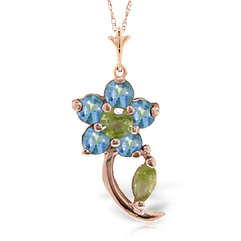 Peridot & Blue Topaz Flower Petal Pendant Necklace in 9ct Rose Gold