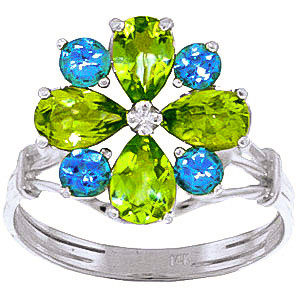 Peridot & Blue Topaz Sunflower Cluster Ring in 9ct White Gold