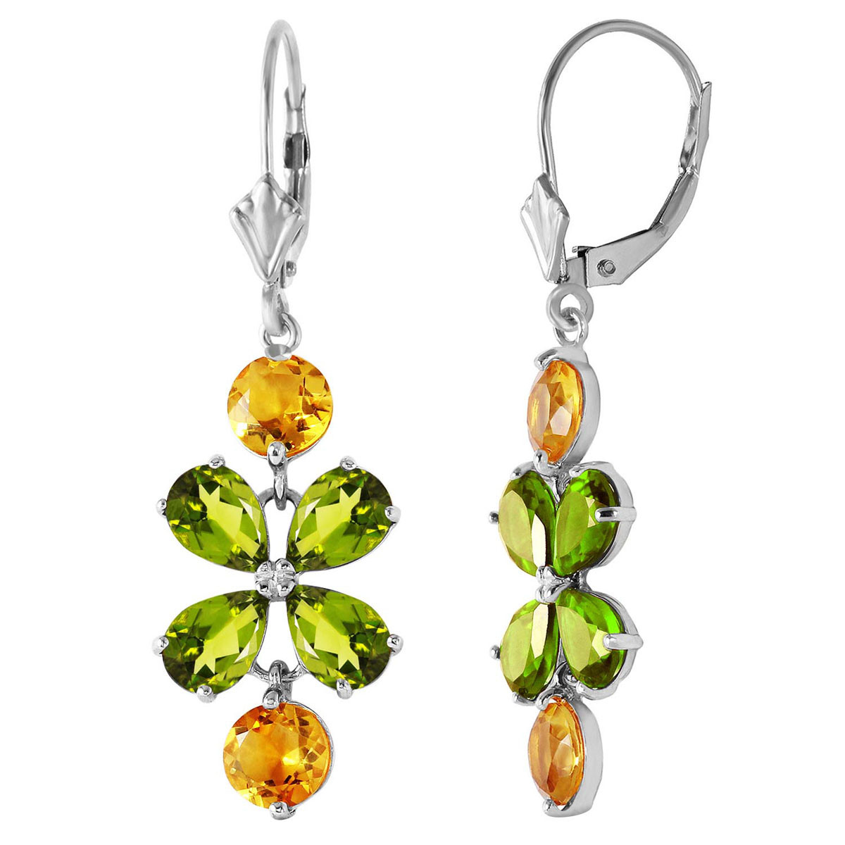 Peridot & Citrine Blossom Drop Earrings in 9ct White Gold