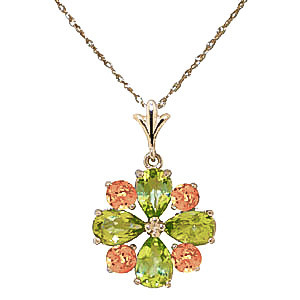 Peridot & Citrine Sunflower Pendant Necklace in 9ct Gold