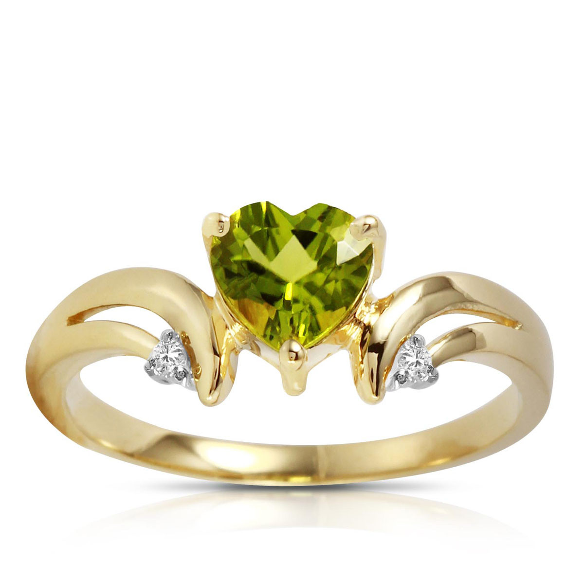 Peridot & Diamond Affection Heart Ring in 9ct Gold