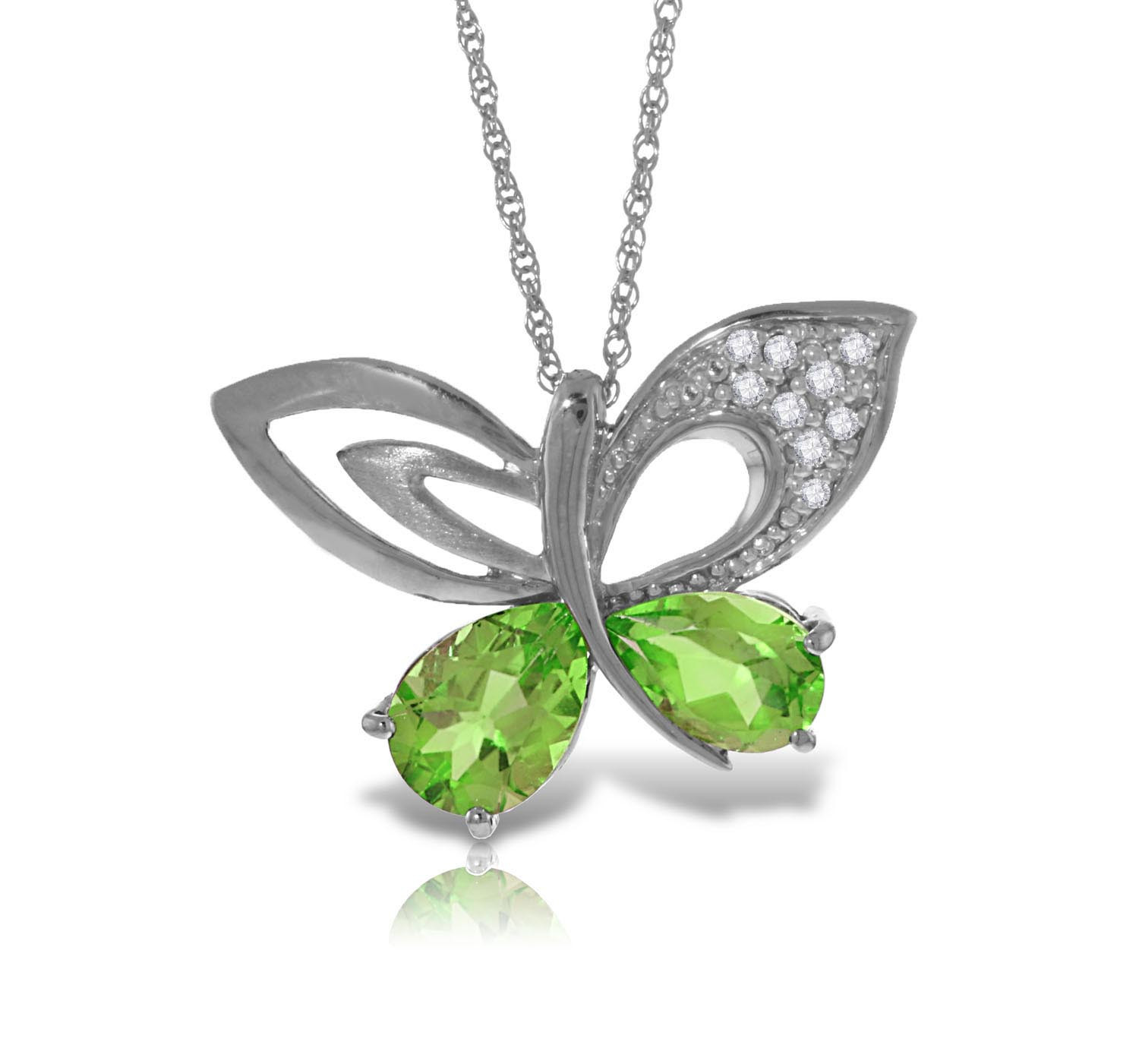Peridot & Diamond Butterfly Pendant Necklace in 9ct White Gold