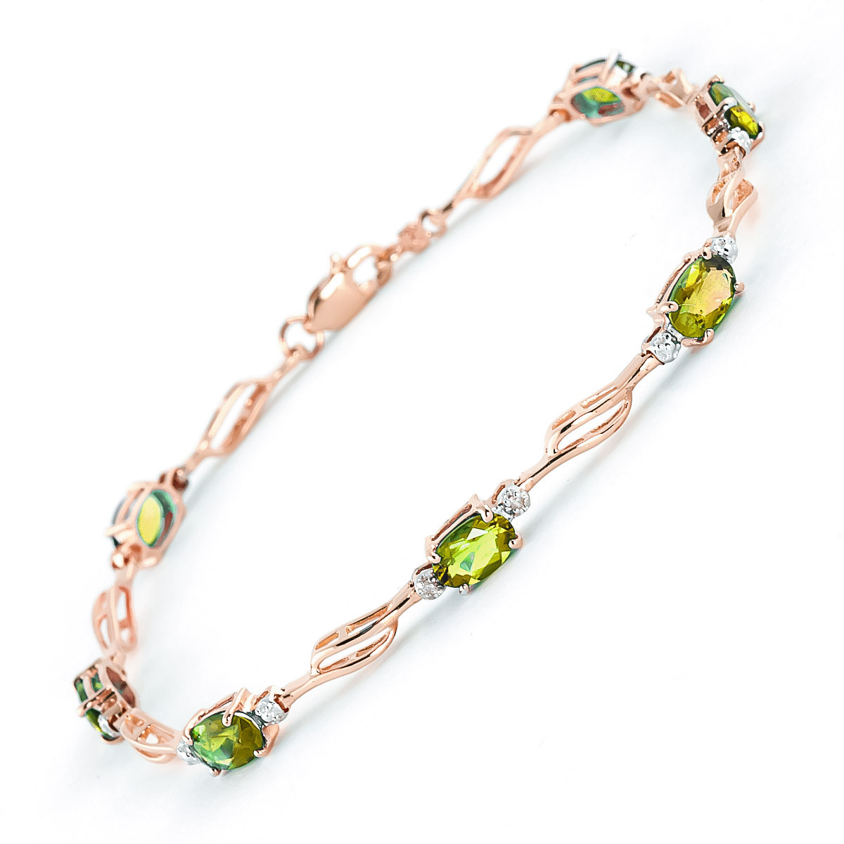 Peridot & Diamond Classic Tennis Bracelet in 9ct Rose Gold
