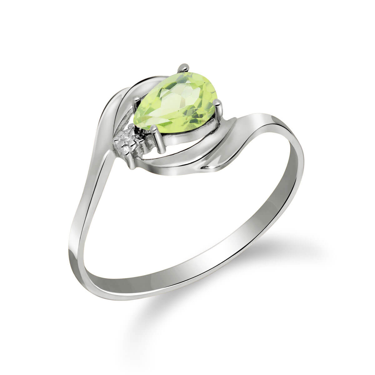 Peridot & Diamond Flare Ring in Sterling Silver