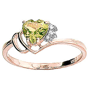 Peridot & Diamond Passion Ring in 9ct Rose Gold