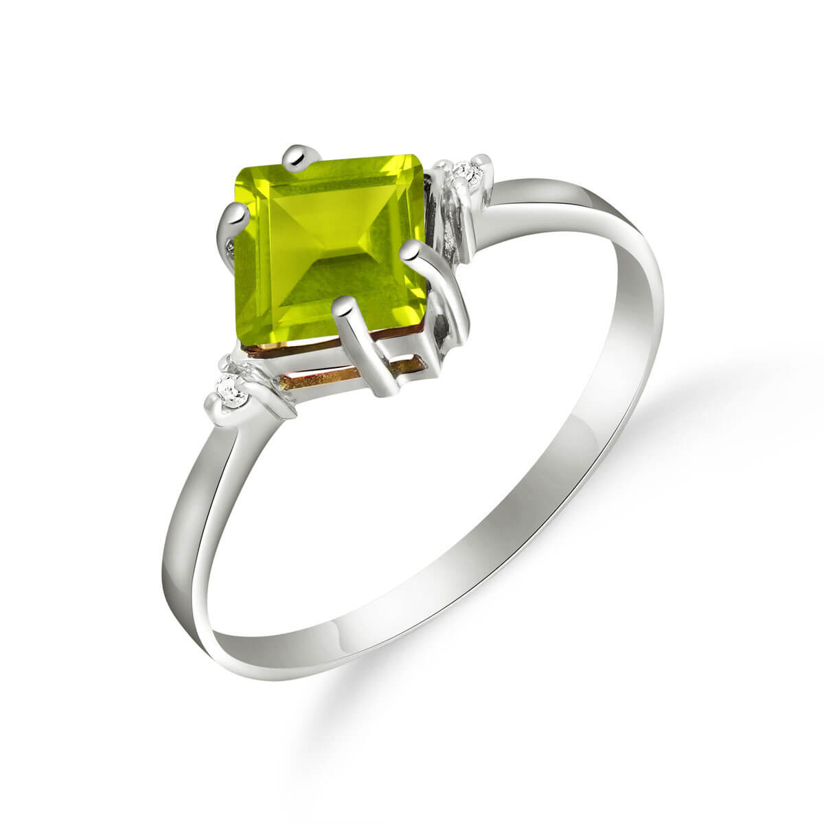 Peridot & Diamond Princess Ring in 9ct White Gold