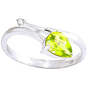 Peridot & Diamond Top & Tail Ring in 9ct White Gold
