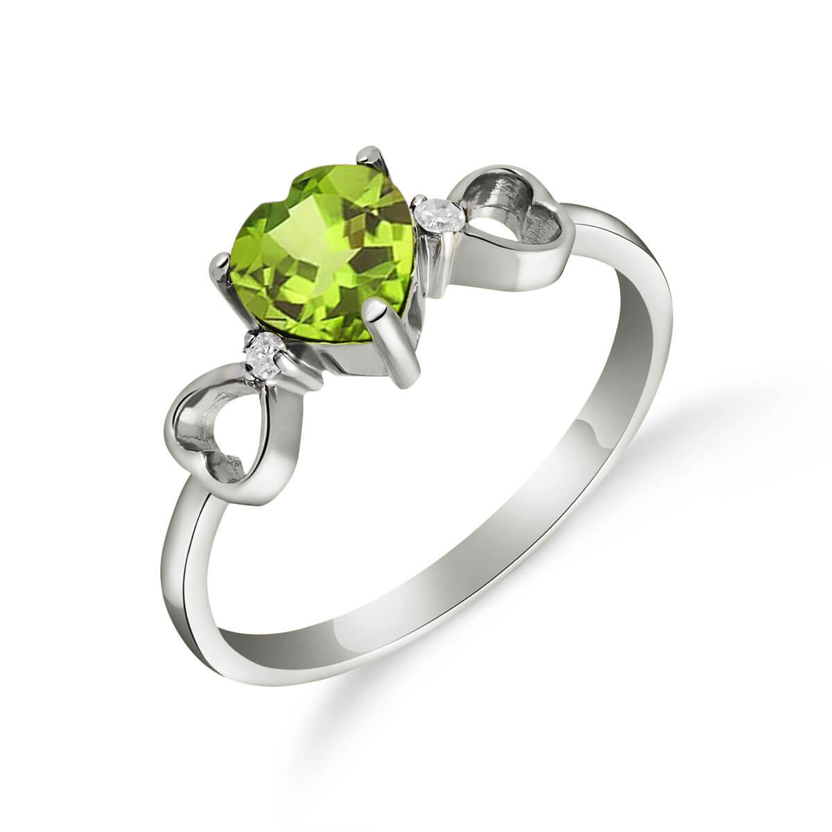 Peridot & Diamond Trinity Ring in 9ct White Gold