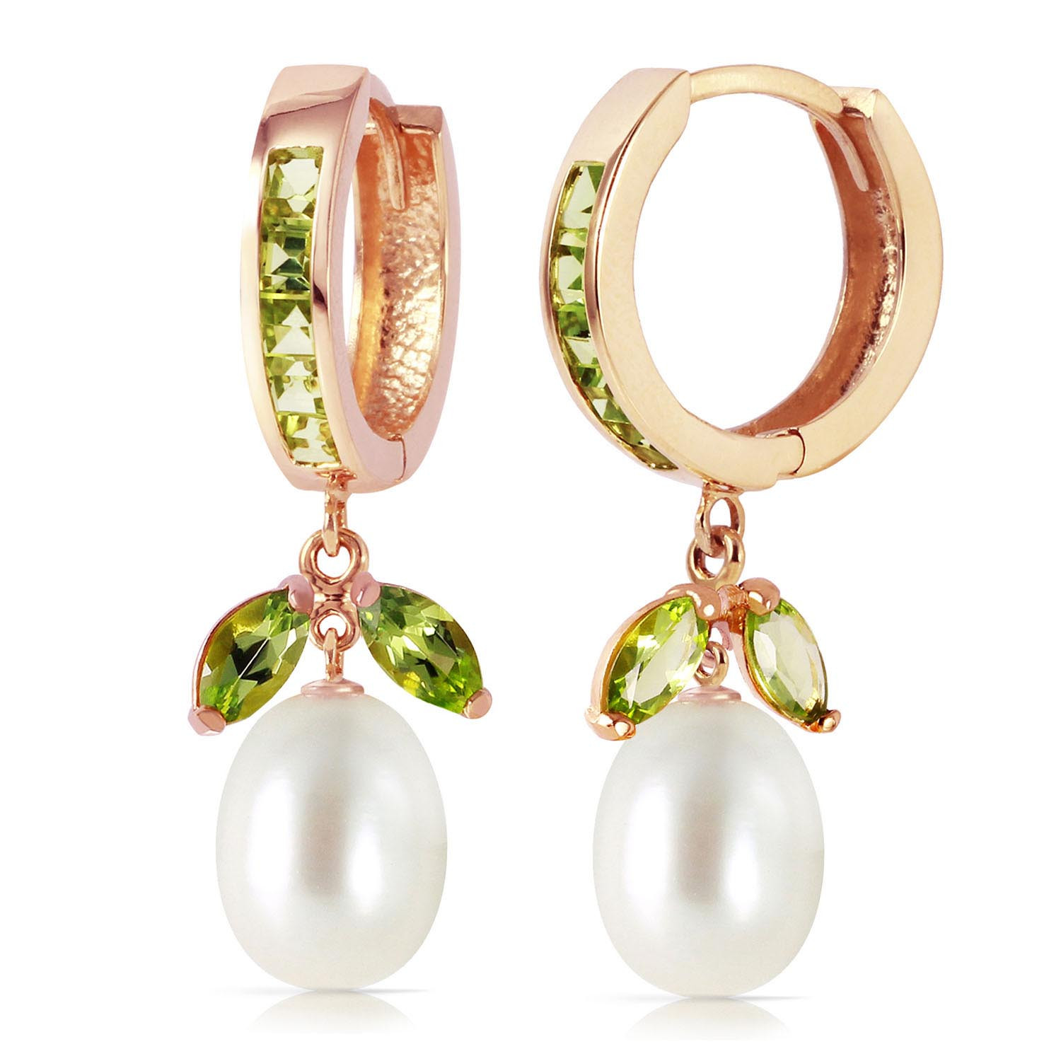 Peridot & Pearl Dewdrop Huggie Earrings in 9ct Rose Gold