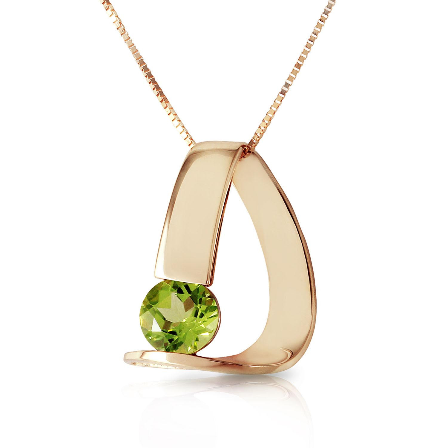 Peridot Arc Pendant Necklace 1 ct in 9ct Gold