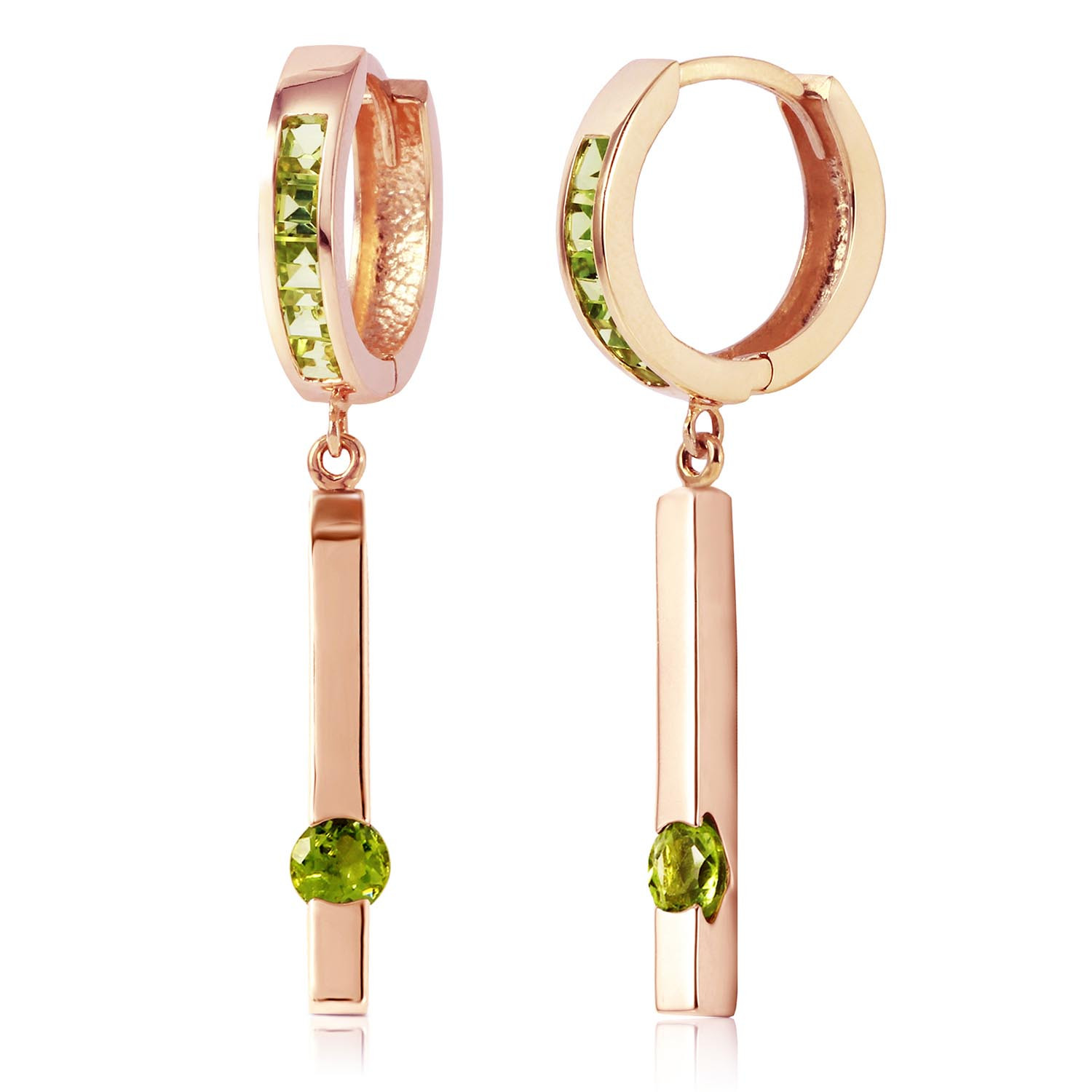 Peridot Bar Drop Earrings 1.35 ctw in 9ct Rose Gold