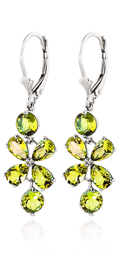 Peridot Blossom Drop Earrings 5.32 ctw in 9ct White Gold