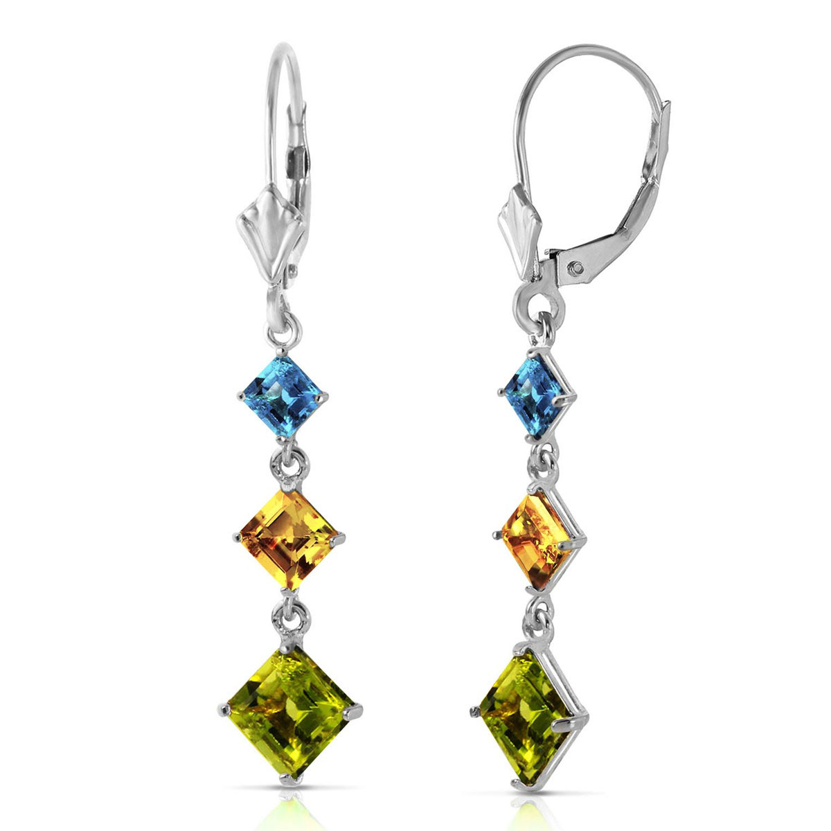 Peridot, Blue Topaz & Citrine Three Stone Drop Earrings in 9ct White Gold