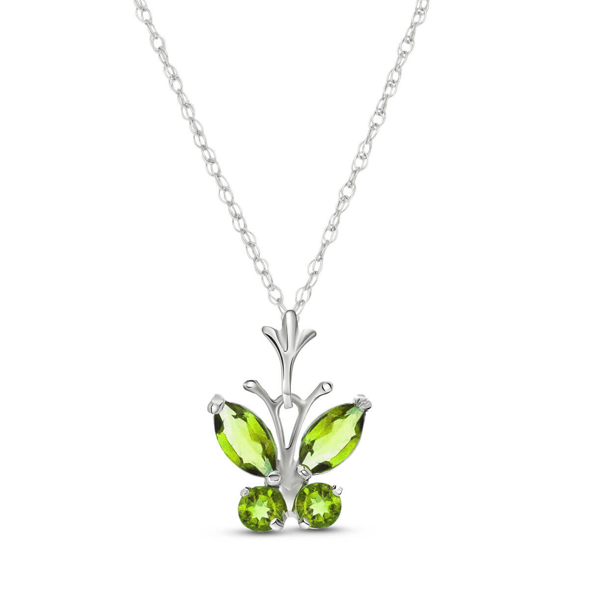 Peridot Butterfly Pendant Necklace 0.6 ctw in 9ct White Gold