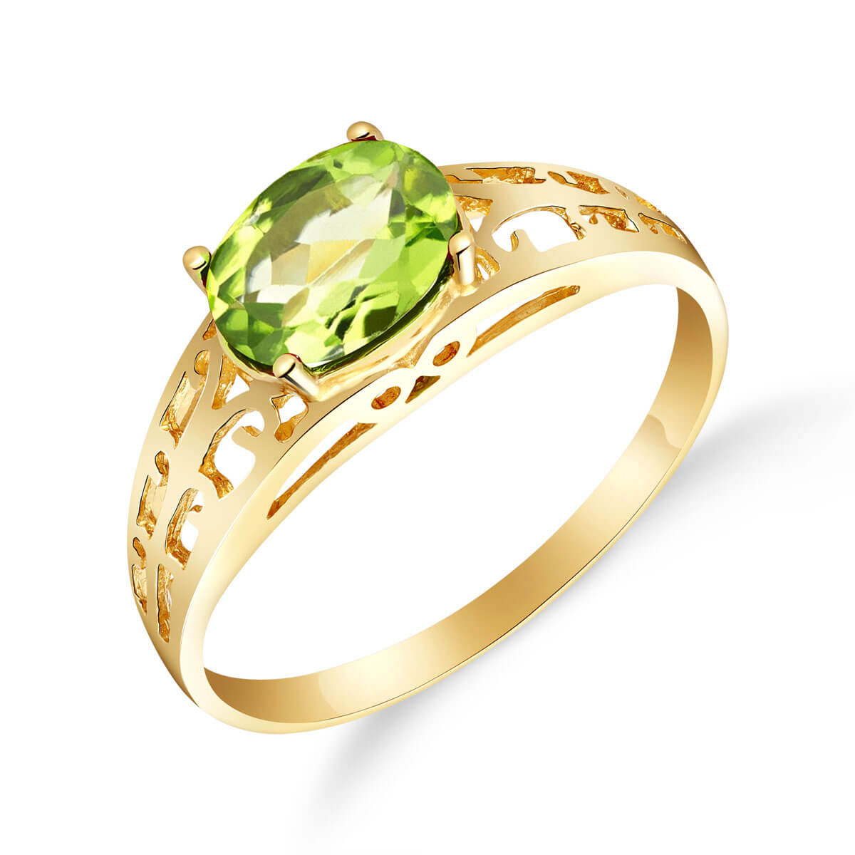 Peridot Catalan Filigree Ring 1.15 ct in 9ct Gold