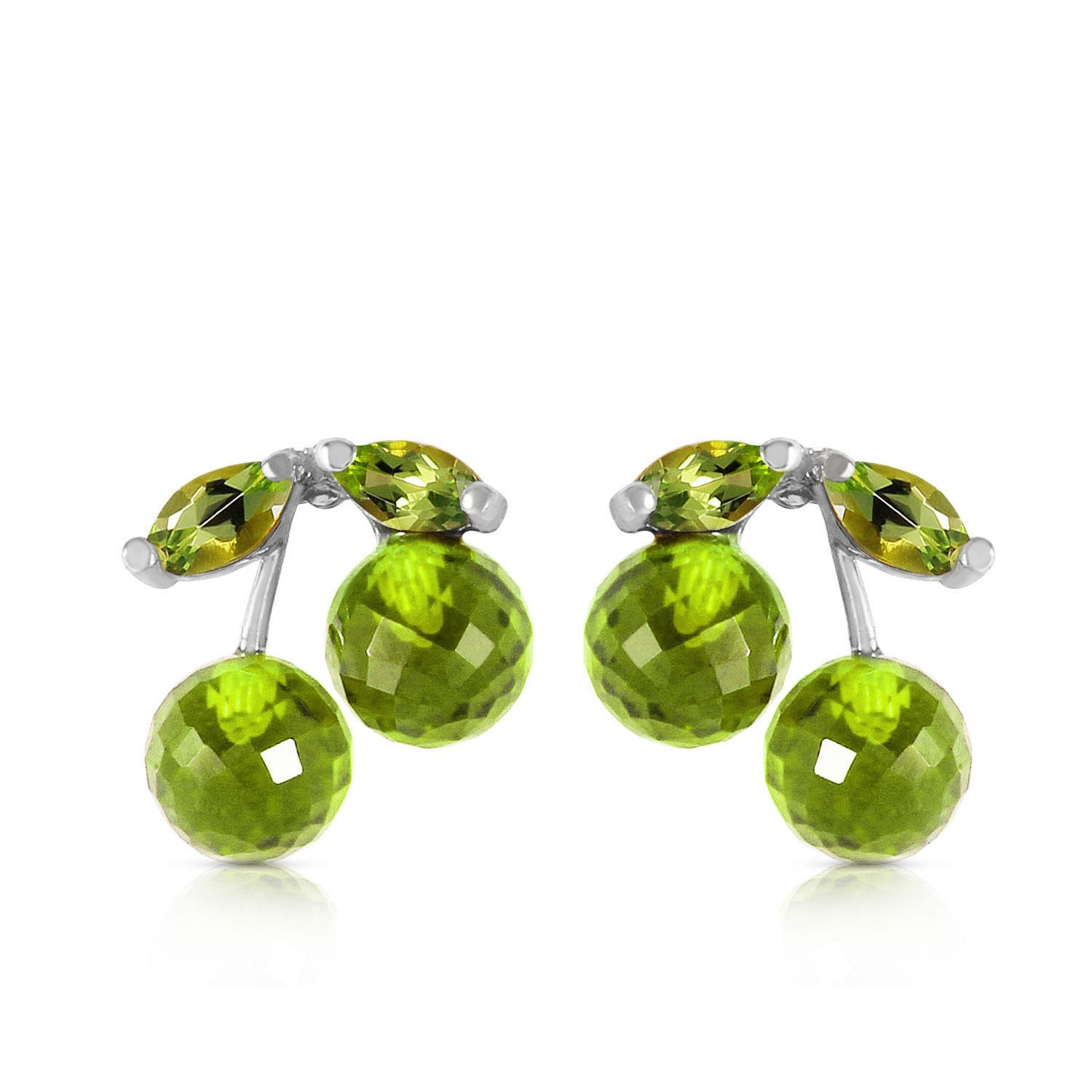 Peridot Cherry Drop Stud Earrings 2.9 ctw in 9ct White Gold