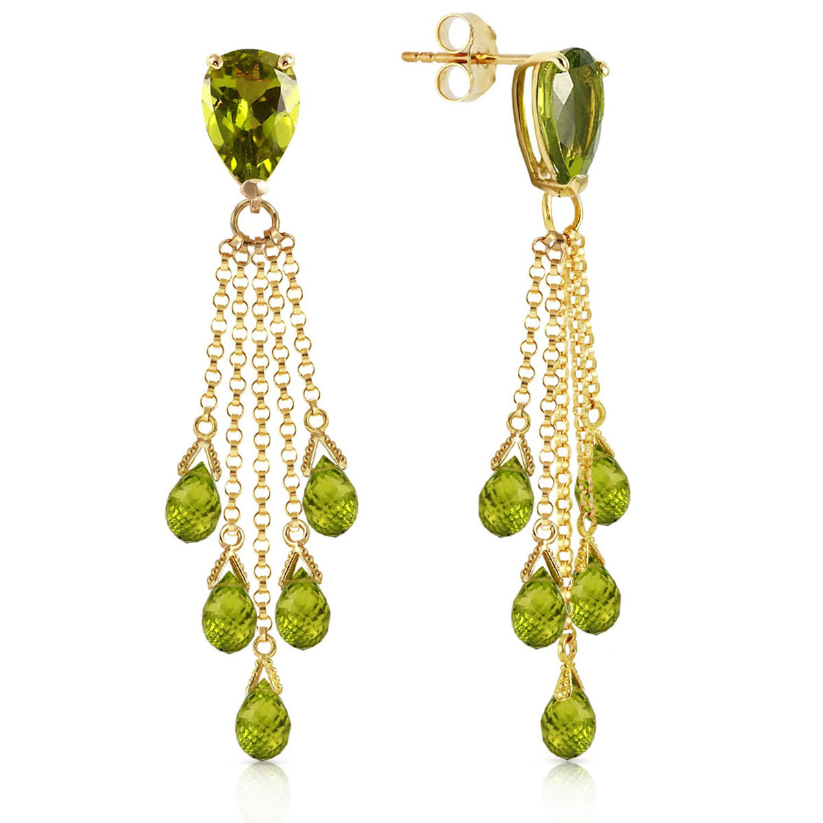Peridot Comet Tail Drop Earrings 15.5 ctw in 9ct Gold