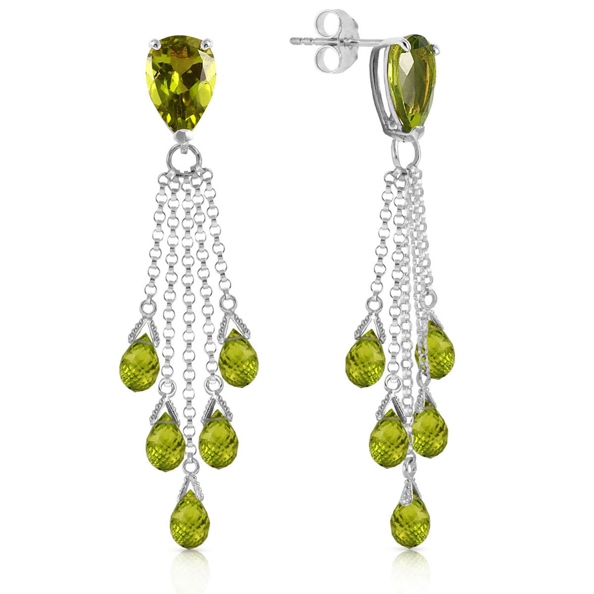 Peridot Comet Tail Drop Earrings 15.5 ctw in 9ct White Gold