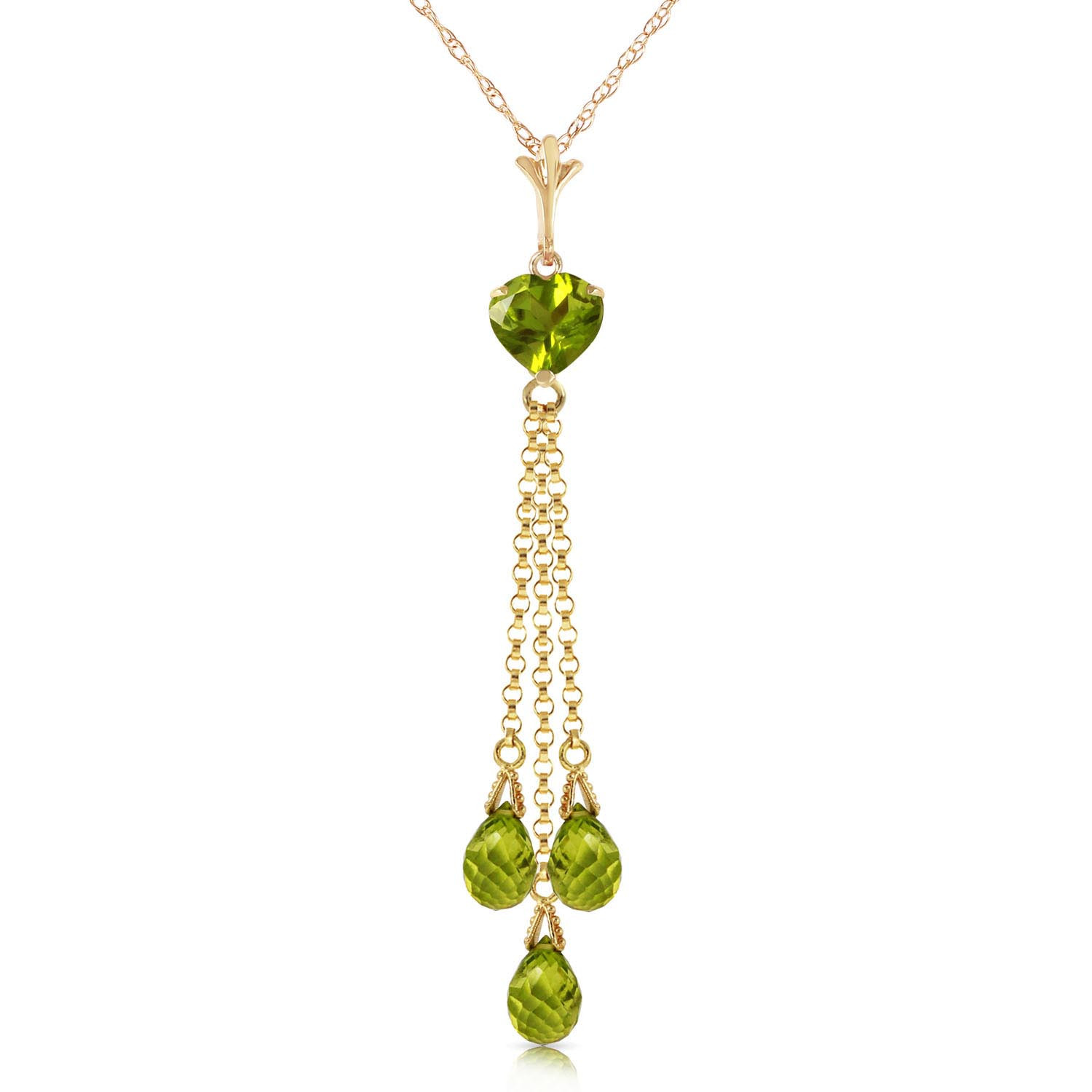 Peridot Comet Tail Pendant Necklace 4.75 ctw in 9ct Gold