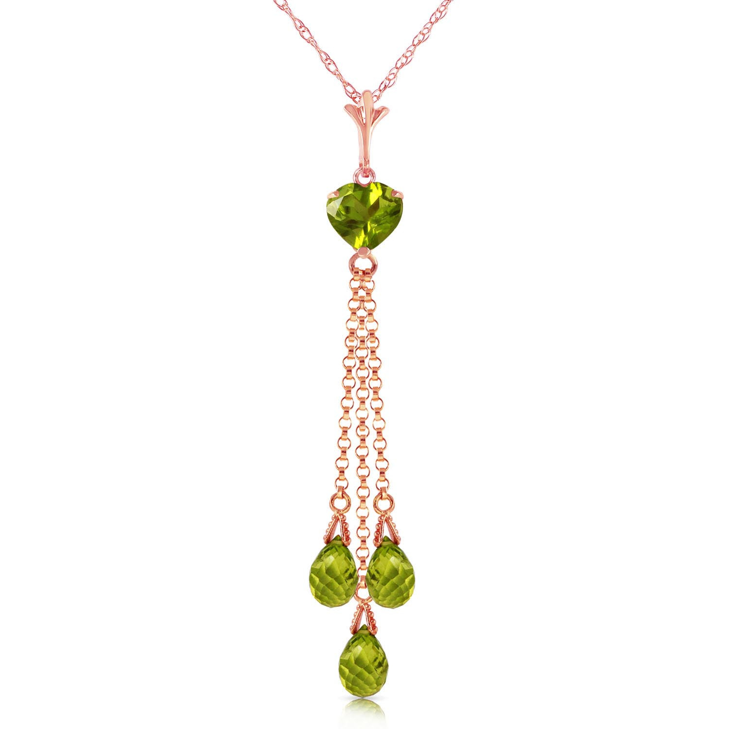 Peridot Comet Tail Pendant Necklace 4.75 ctw in 9ct Rose Gold