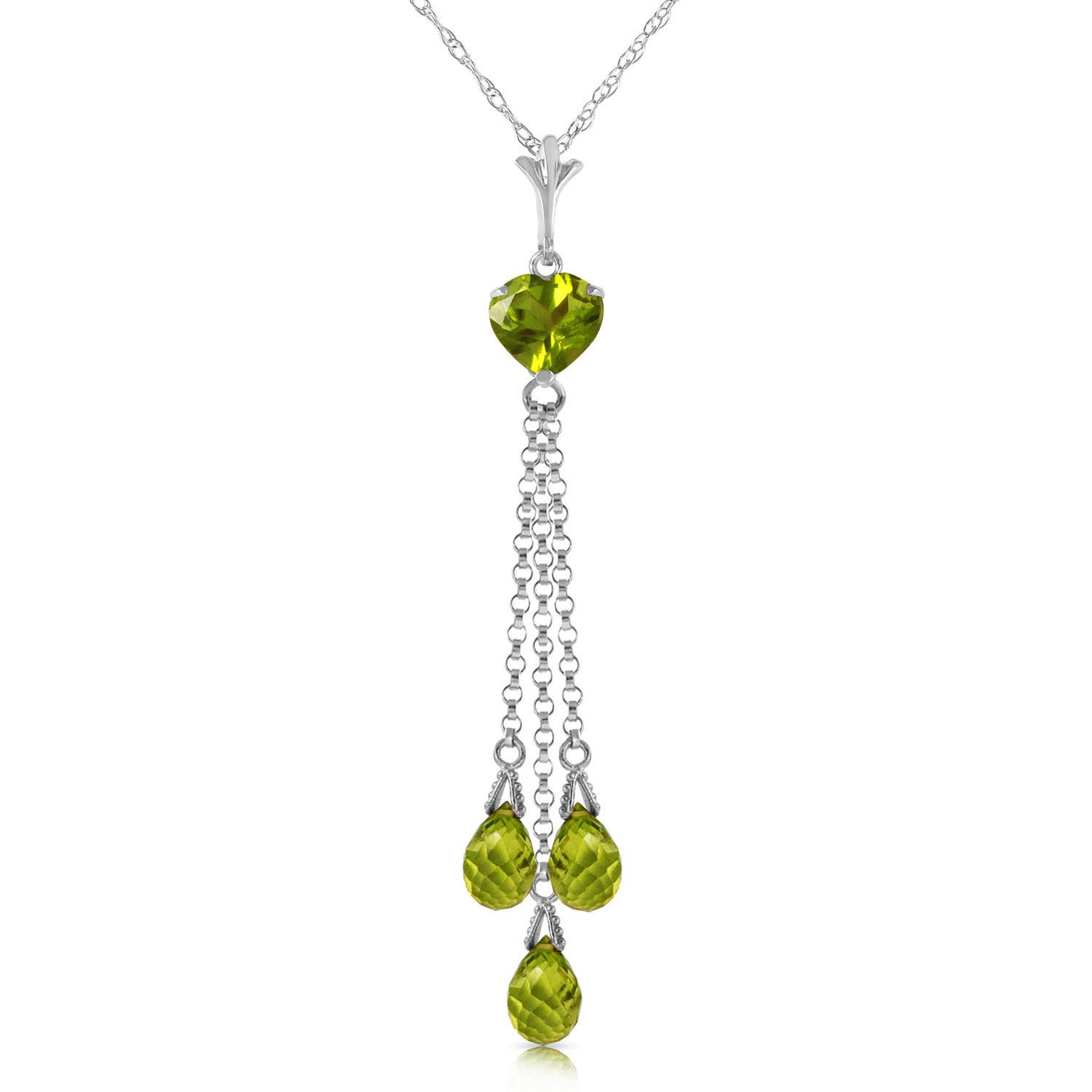 Peridot Comet Tail Pendant Necklace 4.75 ctw in 9ct White Gold