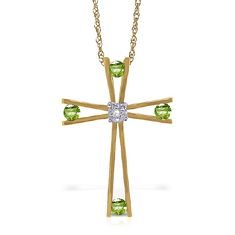 Peridot cross pendant necklace 043 ctw in 9ct gold 5225y qp peridot cross pendant necklace 043 ctw in 9ct gold mozeypictures Gallery