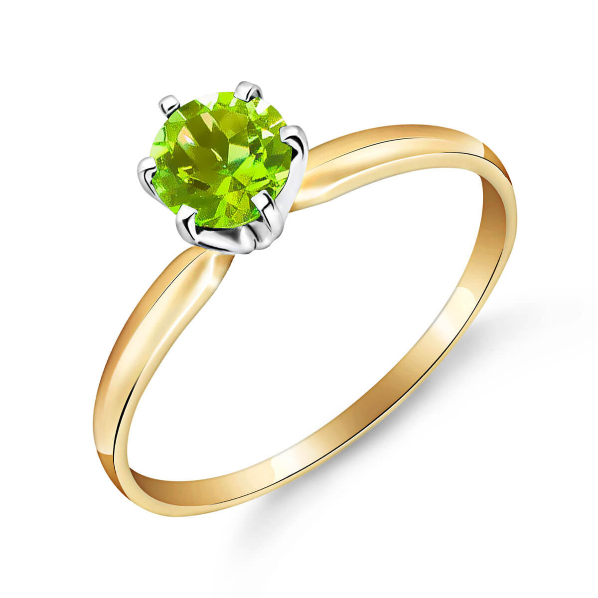 Peridot Crown Solitaire Ring 0.65 ct in 9ct Gold