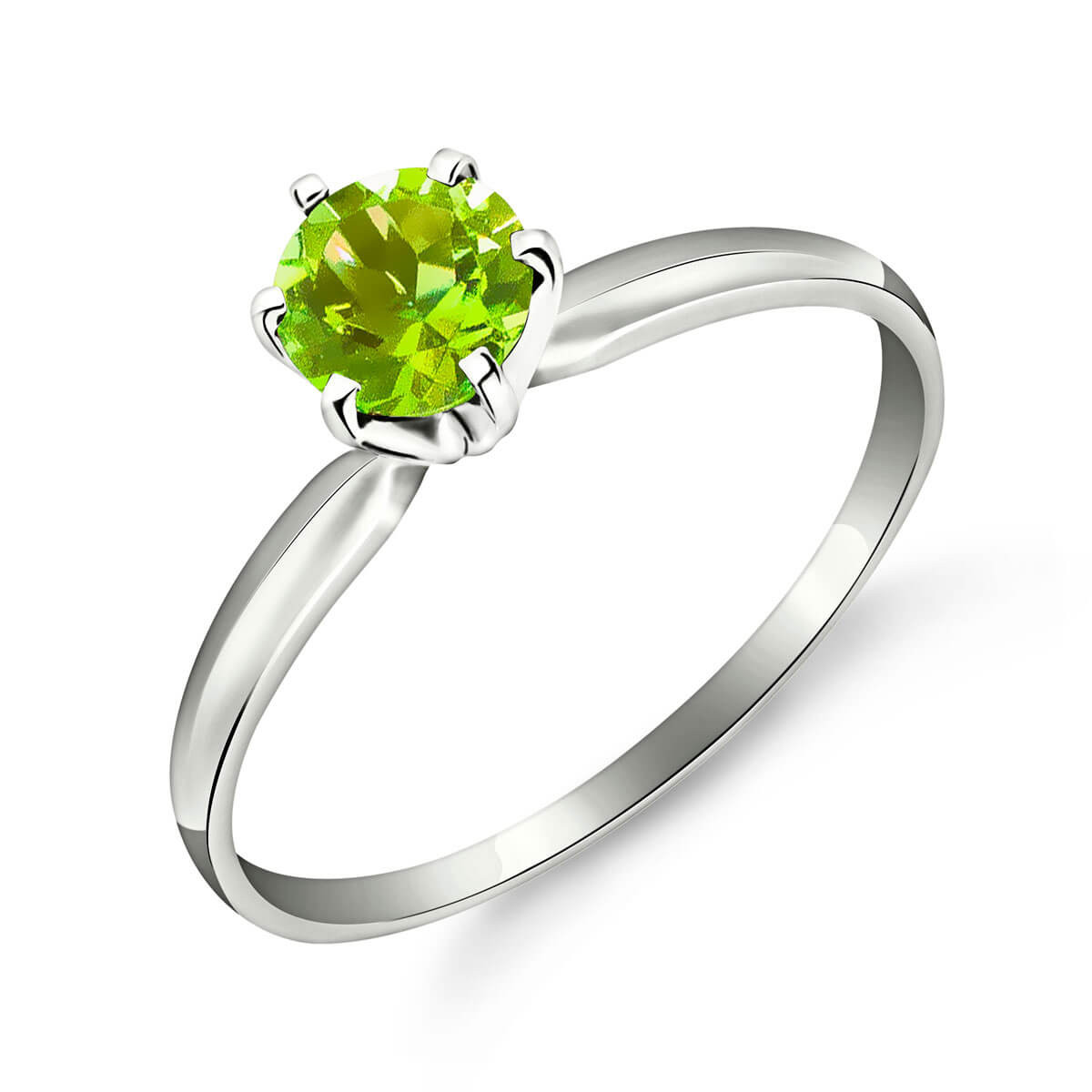 Peridot Crown Solitaire Ring 0.65 ct in 9ct White Gold