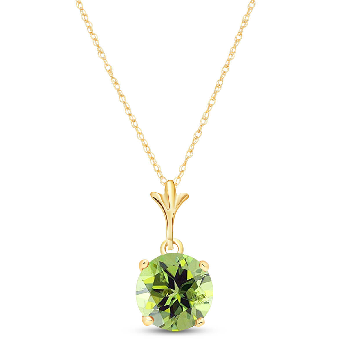 Peridot Drop Pendant Necklace 1.15 ct in 9ct Gold