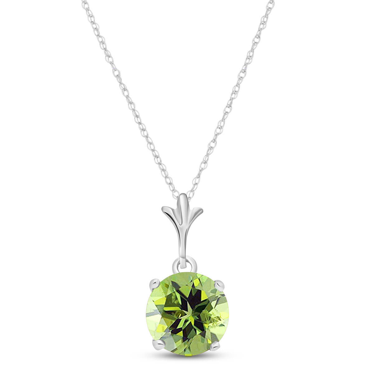 Peridot Drop Pendant Necklace 1.15 ct in 9ct White Gold