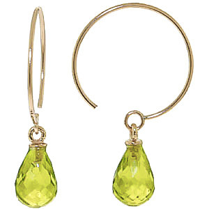 Peridot Eclipse Circle Wire Earrings 1.35 ctw in 9ct Gold