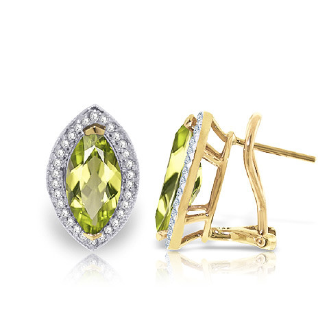 Peridot French Clip Halo Earrings 4.3 ctw in 9ct Gold
