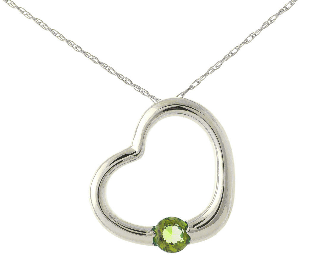 Peridot Heart Pendant Necklace 0.25 ct in 9ct White Gold