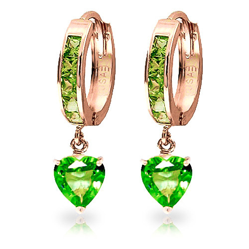 Peridot Huggie Earrings 4.1 ctw in 9ct Rose Gold