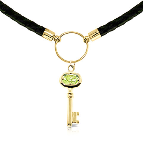 856463a05 Peridot Key Charm Leather Pendant Necklace 0.5 ct in 9ct Gold ...